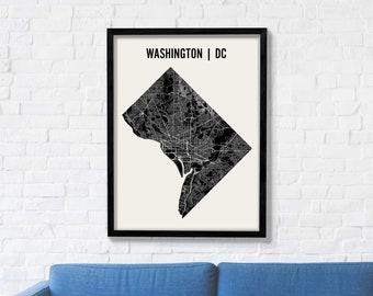 Washington DC City Map Art Print, Modern Minimalist Map Poster of Washington DC in 12 x 16, 18 x 24, or 24 x 30