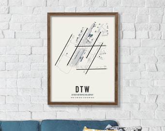 Detroit airport map | Etsy on