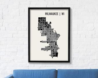Milwaukee City Map Art Print, Modern Minimalist Map Poster of Milwaukee in 12 x 16, 18 x 24, or 24 x30