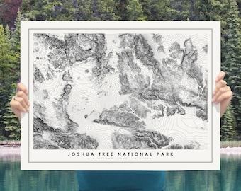 Joshua Tree National Park Map Poster, Modern Minimalist Topographical Art Print of Joshua Tree in 12 x 16 , 18 x 24, or 24 x 30