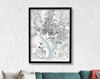 Washington DC Architecture Print, Modern Minimalist Building Footprint Map Poster of Washington DC in 12 x 16, 18 x 24, or 24 x 30