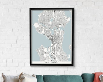 Seattle Architecture Print, Modern Minimalist Building Footprint Map Poster of Seattle in 12 x 16, 18 x 24, or 24 x 30
