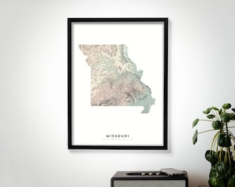 Missouri Wall Art Relief Map Print, Modern Topographic Elevation Map of Missouri in 12 x 16, 18 x 24, or 24 x 30
