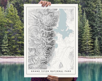 Grand Teton National Park Map Poster, Modern Topographical Art Print of Grand Teton National Park in 12 x 16, 18 x 24, or 24 x 30