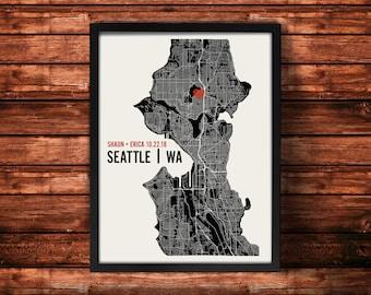 Personalized Seattle City Map Art Print - Custom Run Modern Wall Poster - Wedding or Housewarming Gift