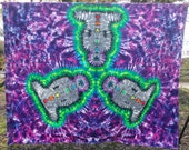 """Titled """"Full Lotus Trio"""" This is a One of a Kind Giant 8ft by 7ft Handmade Tie Dye Tapestry or Great for a Bed."""