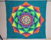 One of a Kind Mandala Tie Dye Tapestry 52in by 52in with hanging eyelets