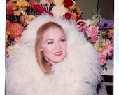 Woman surrounded by OSTRICH FEATHERS and flowers Color square 70s ish Vintage PHOTO