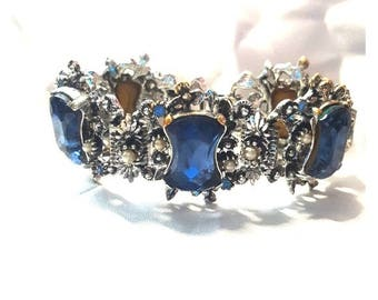 Vintage Blue Crystal & Faux Pear Bracelet