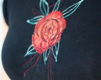 Black Jersey Tee with Oriental Inspired Red Rose Leather Applique with Free-stitching