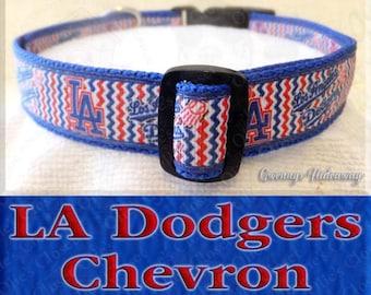 Los Angeles LA Dodgers BLUE Chevron Baseball MLB Novelty Dog Collar