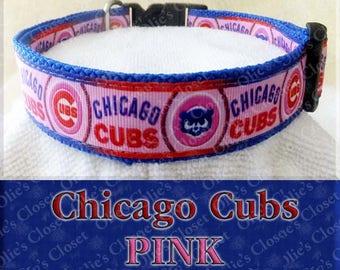 Chicago Cubs PINK Designer Baseball MLB Novelty Dog Collar