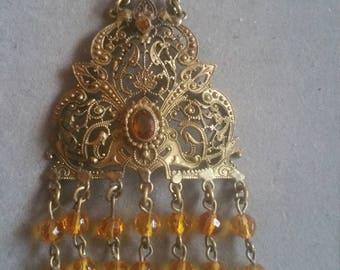 Antique Victorian Long Czech Glass Fringe Necklace