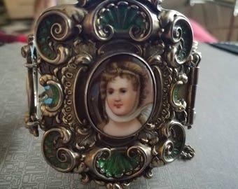 Antique Victorian Enameled Portrait Repousse