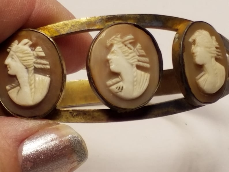 Victorian Gold Gilt Sterling silver Carved Cameo Bracelet or Arm Cuff  very large