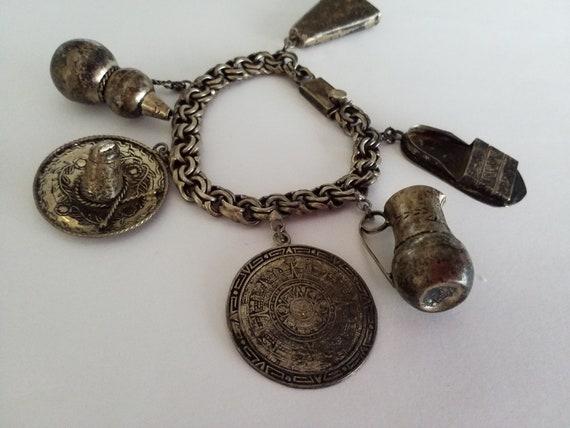 Huge Vintage Sterling Silver Mexican Charm Bracele