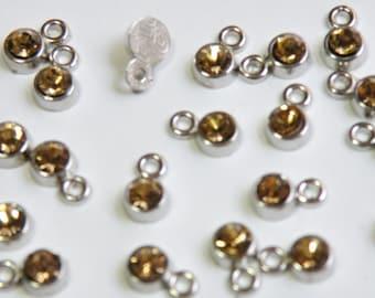 20 Tiny Topaz Gold Rhinestone Crystal Drops November birthstone silver finish charms  November birthstone 8x5mm DB20414