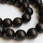 Dark Chocolate Brown wood beads round 19-20mm full strand eco-friendly Cheesewood 1306NB