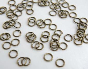 100 Round Jump Rings antique bronze 6mm 22 gauge DB12909