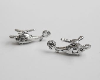 2 Helicopter 3D charms rotor blades military charm antique silver 20x10mm PA24188