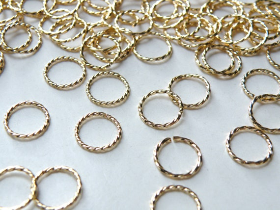 100 Twisted Fancy Silver Plated Brass 15mm Round 20 Gauge Jump Rings
