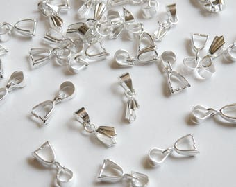 10 Dagger Pinch Ice Pick Bails shiny silver 15x6mm PE143-S