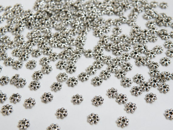 100 x 4.5mm Silver Plated Daisy Metal Spacer Beads