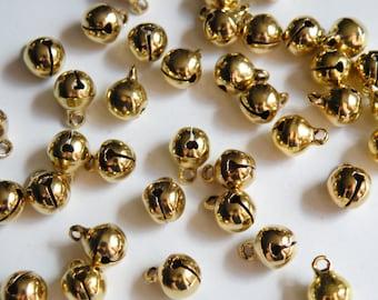 25 Gold Bells Christmas Jingle Bells round charms shiny gold Wedding 10x7.5mm DB02743