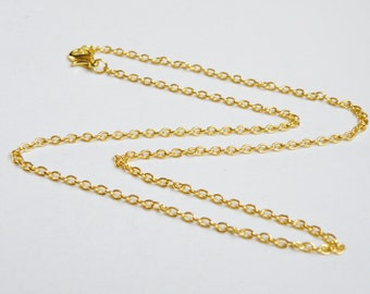 2 Cable 24 inch gold chains with lobster claw clasp finished necklaces 3x2mm links DB59642