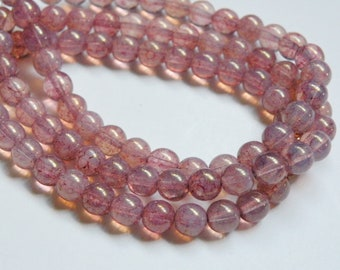 Rosy Pink Opal Druk Czech Metallic Picasso finish round glass beads 6mm half strand ND6-52