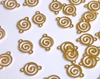 10 Swirl links round shiny gold plated brass 14x10mm 6659FD