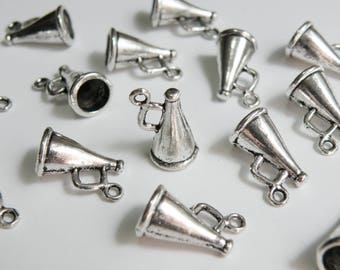 10 Cheerleader Megaphone 3D charms antique silver horn bullhorn pendant 9x16mm 3 Dimensional PLF8500Y