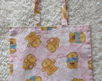 Handmade Pale Pink Forever Friends Bears Character Childrens Cotton Shopping bag  Book bag