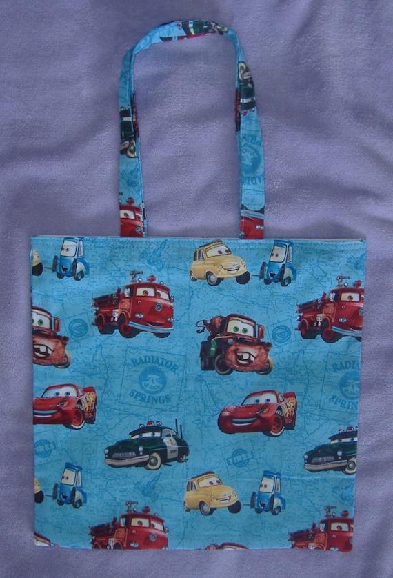 Handmade Blue Disney Cars Characters Print Cotton Shopping Bag Etsy