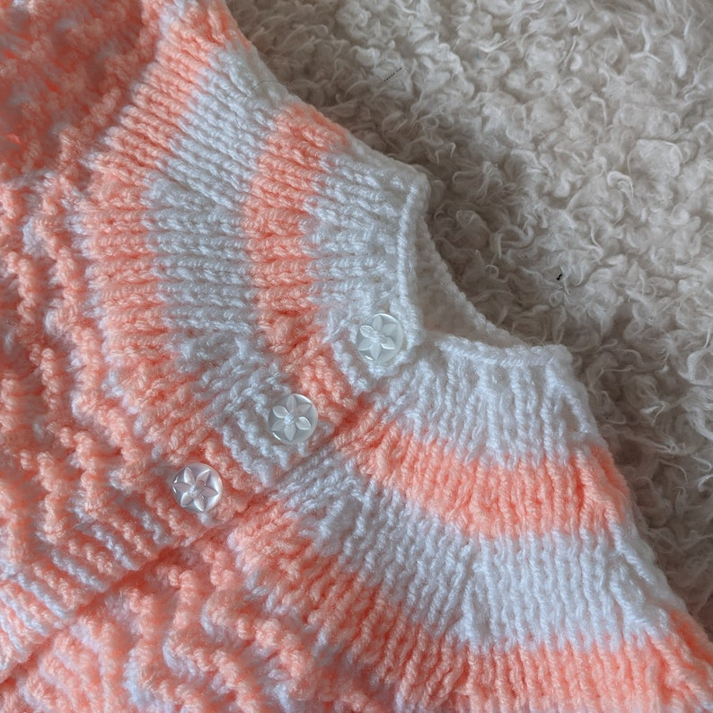 Handknitted Peach and White striped pattern Baby coat /& bootees Newborn size