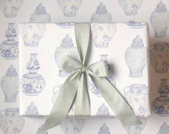 Watercolor Ginger Jar Wrapping Paper, Watercolor Chinoiserie Gift Wrap, Ginger Jar Gift Wrap, Mother's Day Wrapping, Blue and White GiftWrap