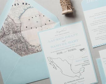 Destination Wedding Invitation, Mexico Wedding Invitation, Map Envelope Liner, Postcard Rsvp, Luggage Tag Invitation, Blue and Grey - SAMPLE