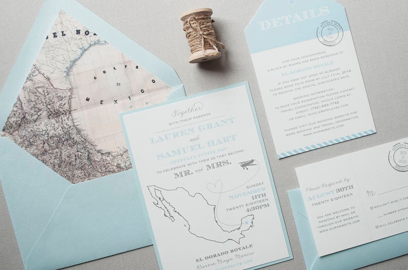 60d453cb59ed Destination Wedding Invitation Mexico Wedding Invitation Map