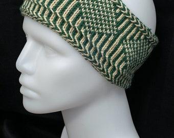 Nordic Knit Headband ~ Green and cream headband ~ winter accessory ~ winter headband ~ gift for her