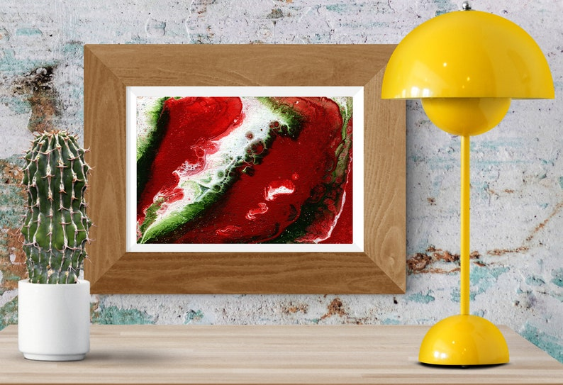 Abstract Red green and white Painting  acrylic fluid image 0