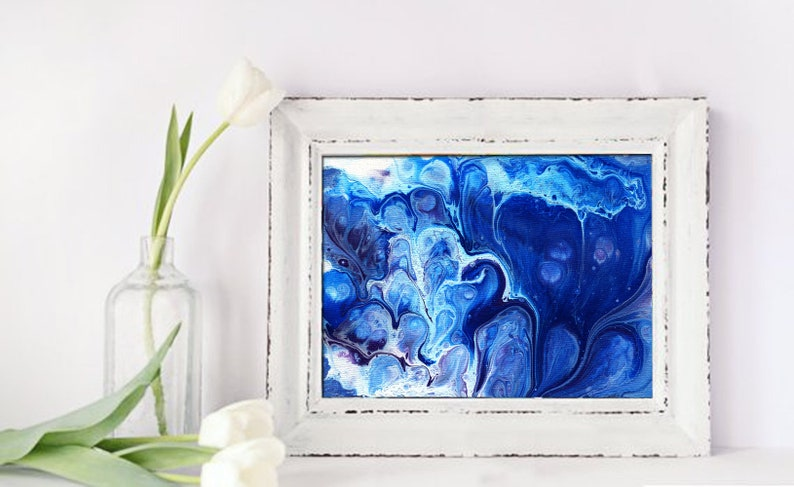 Blue and white abstract painting original artwork Print image 0