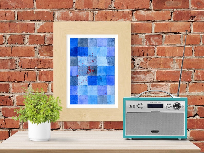 blue and red mosaic abstract painting  Print  Printable image 0