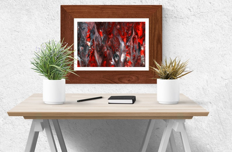 Fire inspired abstract acrylic painting Printable wall art image 0