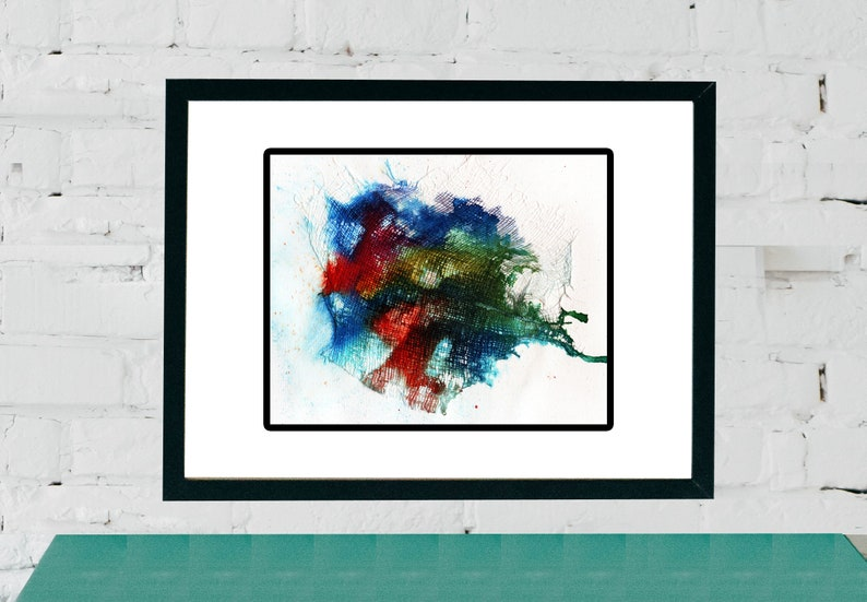 Abstract Acrylic painting on cheese cloth and paper wall art image 0
