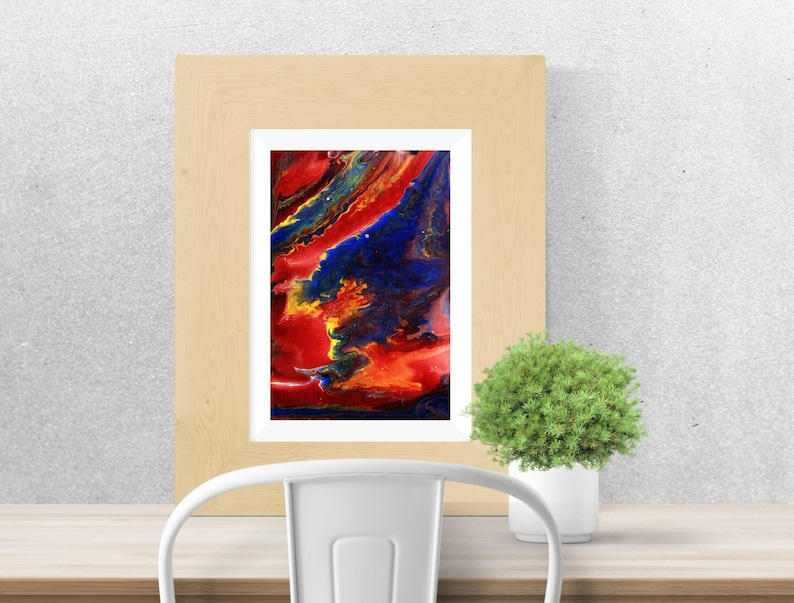 Sunset abstract  Red blue and yellow  Print  Printable art image 0