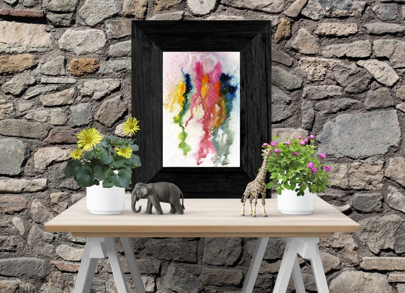 Blue yellow and red abstract painting  Print  Printable  image 0