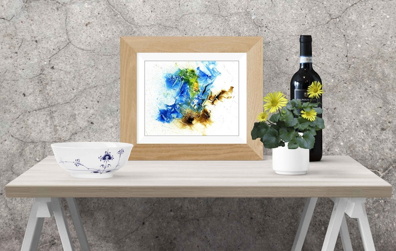 Blue brown abstract painting Printable Wall Art Original image 0