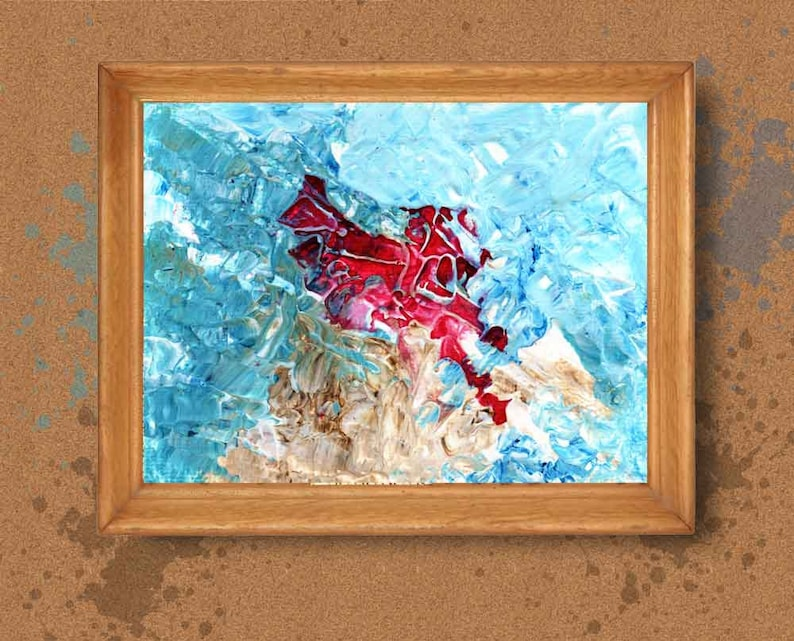 Red and Blue Impasto palette knife painting printable wall image 0