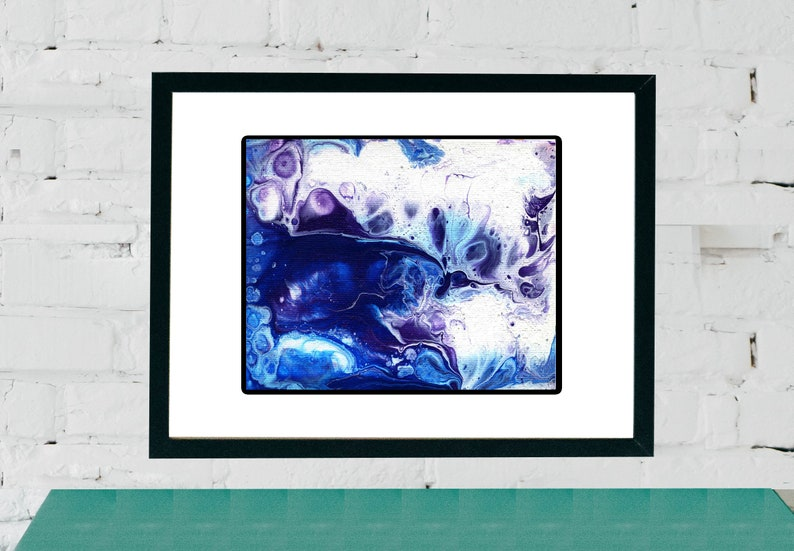 Blue purple and white Abstract Painting  Fluid Acrylic image 0