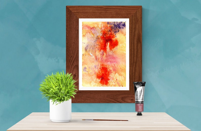 Purple and orange abstract watercolor painting Printable wall image 0
